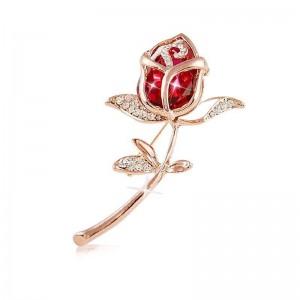 Zlatá brošňa Červená ruža