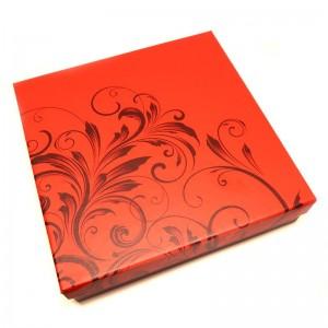Červená darčeková krabička so vzorom na väčšie sety