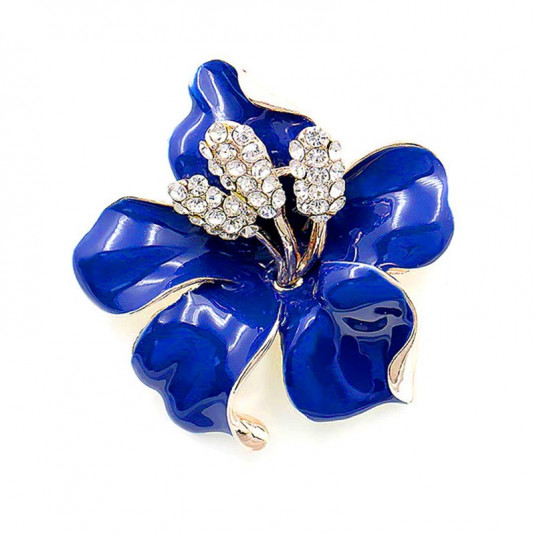 Zlatá brošňa blue flower
