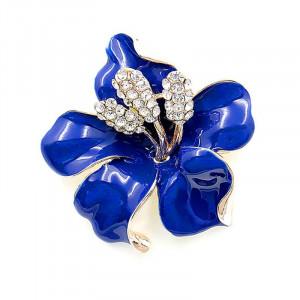 Pozlátená brošňa blue flower