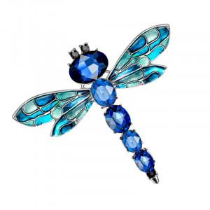 Strieborná brošňa Vážka modrá