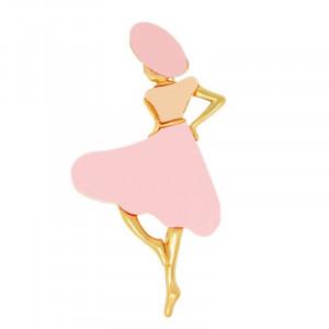Zlatá brošňa dáma v ružovom