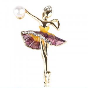 Zlatá brošňa baletka vo fialovom
