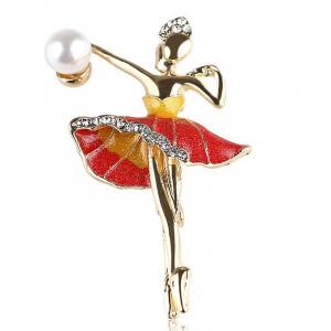 Zlatá brošňa baletka v červenom