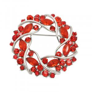 Strieborná brošňa Round red
