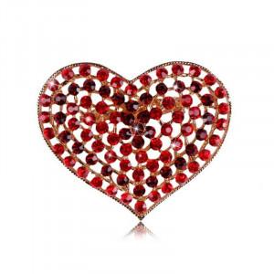 Pozlátená brošňa červené srdce