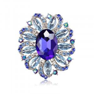 Strieborná brošňa modrý kvet