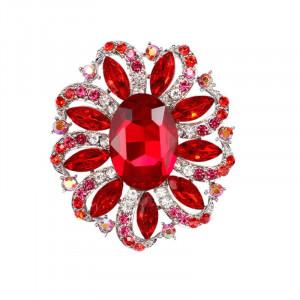 Strieborná brošňa červený kvet