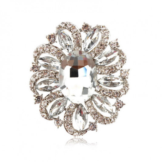 Strieborná brošňa biely kvet