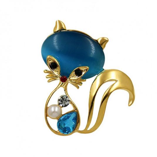 Zlatá brošňa Cat blue