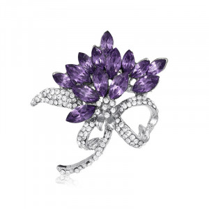 Strieborná brošňa fialová kytica