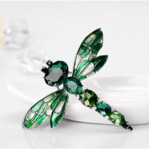 Strieborná brošňa Vážka zelená
