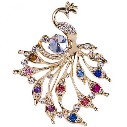 Zlatá brošňa trendy peacock