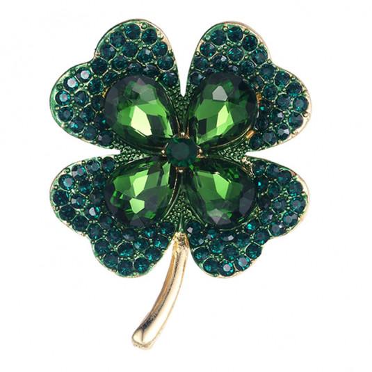 Zlatá brošňa štvorlístok smaragdovozelený