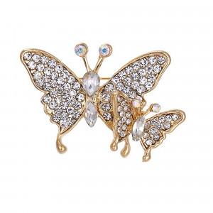 Pozlátená brošňa Motýliky
