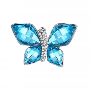 Strieborná brošňa modrý motýlik