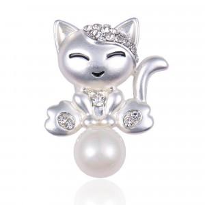 Strieborná brošňa mačička s perlou