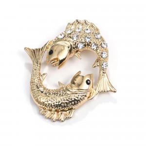 Pozlátená brošňa znamenie ryby