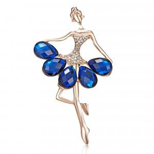 Pozlátená brošňa tanečnica v modrom