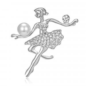 Strieborná brošňa baletka s perlou