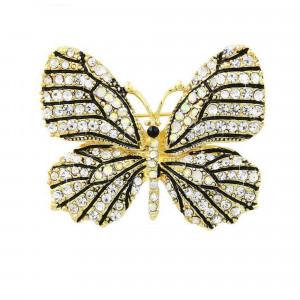 Pozlátená brošňa motýľ biely