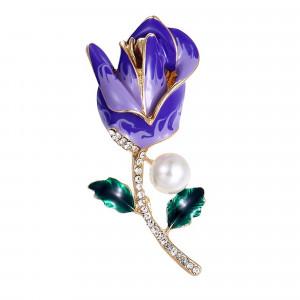 Pozlátená brošňa fialový kvet s perlou