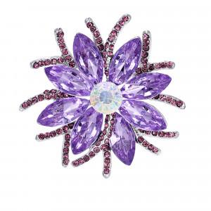 Strieborná brošňa fialový kvet