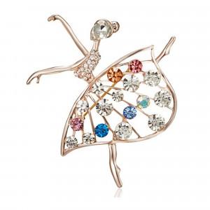 Pozlátená brošňa baletka