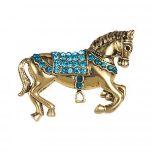 Pozlátená brošňa kôň