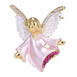 Pozlátená brošňa ružový anjelik