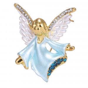 Pozlátená brošňa modrý anjelik