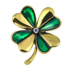 Pozlátená brošňa štvorlístok zelenozlatý