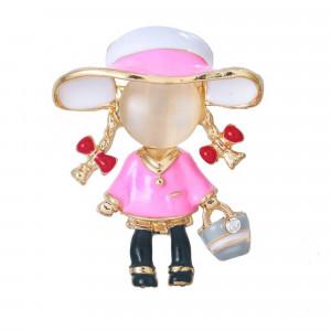 Pozlátená brošňa ružová bábika