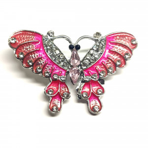 Strieborná brošňa motýľ ružový